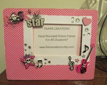 4x6 Rockstar Themed - Hand Decorated Picture Frame