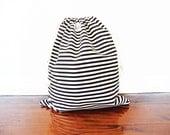 Large Drawstring Bag / Library Bag / Laundry Bag - Black and White Stripe