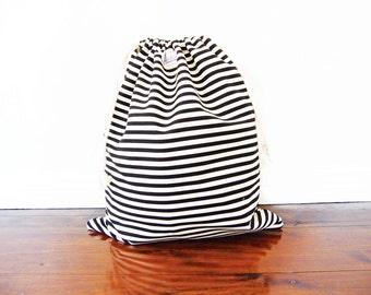 Large Drawstring Bag / Library Bag / Laundry Bag - Black and White Stripe