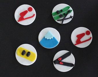 Fondant Ski, Snowboard and Mountain Cupcake Toppers for Birthday Cupcakes, Cookies or Cakes