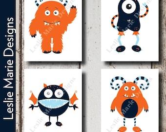 BABY BOY NURSERY - Monsters - Orange and Navy