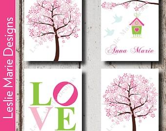 BABY GIRL NURSERY Decor - Cherry Blossom Trees - Pink Green