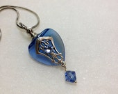 Blue Crystal Heart  Essential Oil / Perfume Bottle Necklace