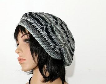 Gray Black  Hat Black Gray Knit Hat,