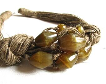 Glass Olives - linen necklace