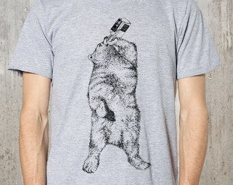 Bear Drinking Whiskey - Men's Graphic Tee - American Apparel- Available in S, M, L, XL and 2XL