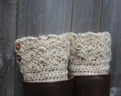 Oatmeal colored women's boot cuffs with buttons average size with buttons - Boot Cuffs  - Boot Cuffs - crochet boot cuffs