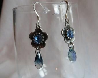 Blue Flower Drop Earrings on Silver Ear Wires, Dangle, Earrings, Blue, Flower
