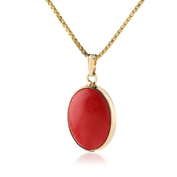 Large Red Coral Necklace Gold 18k Vermeil Chunky Red pendent Gemstone Jewely