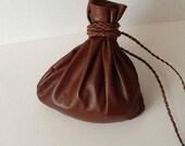 Leather Pouch Bag - Leather Sack-  Cross Body Bag - Shoulder Bag - Brown