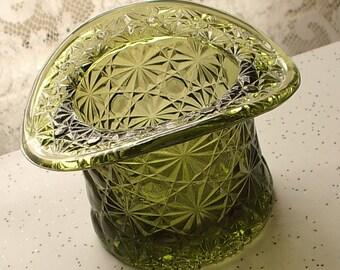 Vintage 1960's Fenton glass top hat, daisny and button pattern glass, avocado green glass vase,  retro 1970's decor,