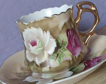 Antique Porcelain tea cup and saucer, Lefton china brown heritage tea cup, hand painted roses tea cup, Japanese teacup, antique tea cup