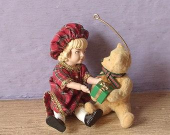 Vintage Hallmark Christmas ornament, Lucinda and Teddy, 1994, WITH BOX, girl with teddy bear, girl's christmas tree, teddy bear ornament