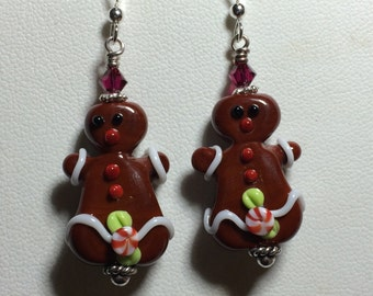 Handmade lampwork earrings, handmade lampwork jewelry, christmas earrings, gingerbread lady