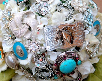 Country Western bouquet cowgirl turquoise bridal bouquet with free toss bouquet Aqua Brooch Bouquet