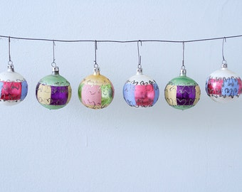 Lot of 6 Vintage Christmas Glass Ornaments