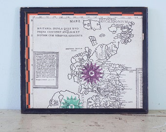 Vintage Map of the British Isles Wooden Frame