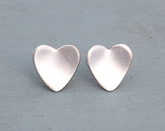 Silver Heart Studs - Sterling Silver Earrings - Silver Heart Earrings - Silver Heart Studs - Mothers Day Gift -