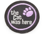 Vintage Patch | Purple Black Silver Paw Print | The Cat Was Here | Unused Sew On Applique | Applique Jacket Jeans Hat Shorts Backpack NOS