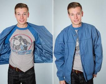 1970s Blue Vintage Jacket | Men's Womens Unisex Coat | Size LARGE Windbreaker | Fall Winter Poly / Cotton Blend Hipster Hippie | B