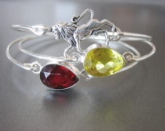 GRYFFINDOR inspired set of 3 bangle bracelets