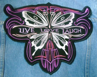 Live Love Laugh large embroidered patch