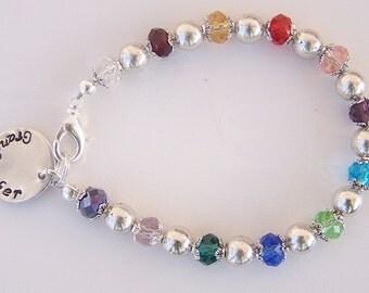 Colorful Birthstone bracelet Swarovski crystal personalized handstamped pendant bracelet