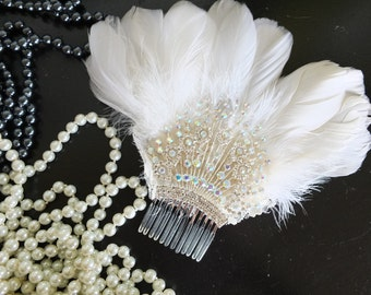 Flapper 1920s feather and rhinestone wedding headpiece headband