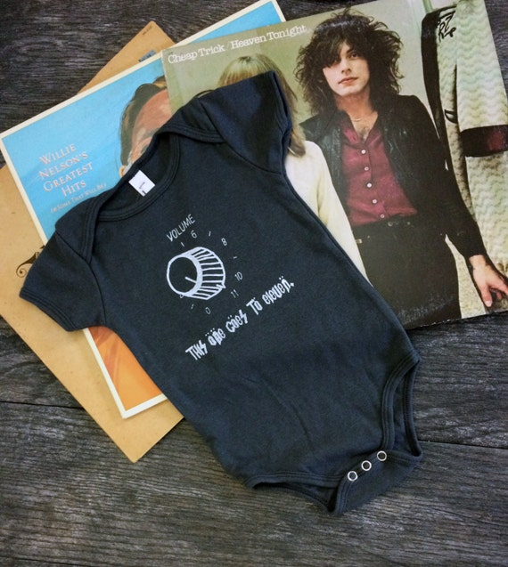 Funny 80s Rock Onesie - This One Goes To Eleven Grey Baby Bodysuit - Hand Screen Printed