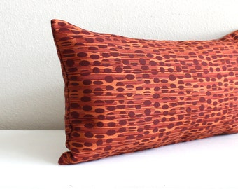 Lumbar Pillow Cover Rust Orange Stripes Decorative Fall Decor Oblong Accent Throw Pillow Cover 12x24 12x21 12x18 12x16 10x20