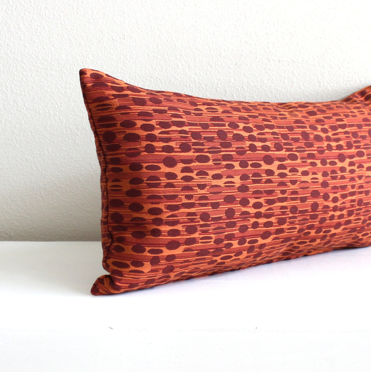 Lumbar Pillow Cover Rust Orange Stripes Decorative Fall Decor