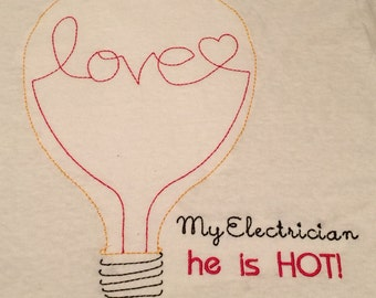 Embroidered Lightbulb LOVE with custom wording for your LOVE