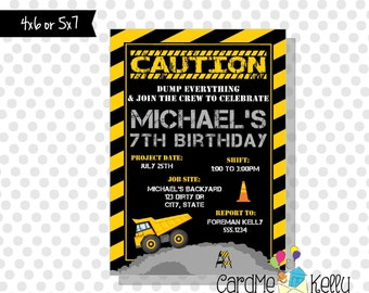 Printable Construction Rock Dump Truck Caution Boy Birthday Invitation - Digital File