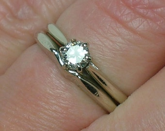 White Gold Wedding Set, 1950s-60s Atomic era Diamond Solitaire, Minimalist. Size 4