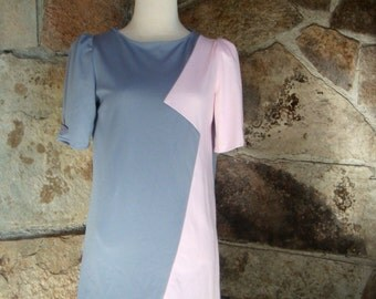 80s COLORBLOCK SHIFT DRESS pastel pink grey zig zag minidress frock new wave S