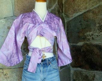 90s KIMONO CROP TOP vintage upcycled wrap jacket raver club kid