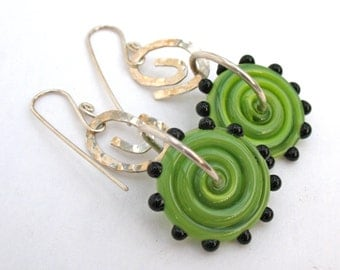 Handmade Whimsical Lampwork Kiwi Swirls With Dots Earrings Flameworked Sterling Silver