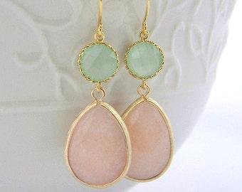 Peach and Mint Earrings Trimmed in Gold-Drop Earrings-Bridesmaid Gift- Wedding Earrings-Dangle Earrings-Peach Mint Jewelry Gift