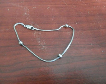 """Sterling Silver .925 Textured Stationary Three Beaded Bracelet-approx. 7 1/2"""" Long"""