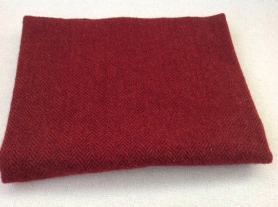 Garnet Red Herringbone, Wool Fabric for Rug Hooking and Applique, Select-a-Size, J902, Mill Dyed Wool Fabric