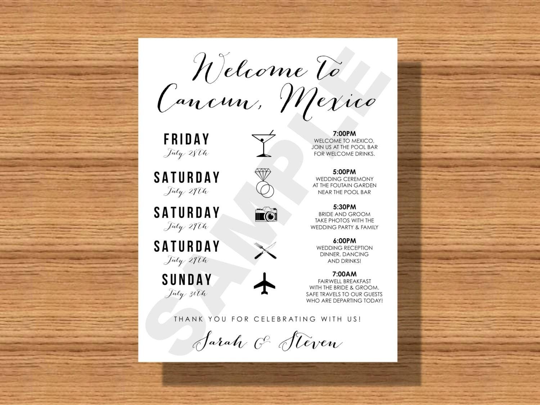 Destination Wedding Weekend Itinerary Wedding Schedule of