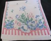 Vintage White Pink Printed Cotton Linen Kitchen Hand Towel
