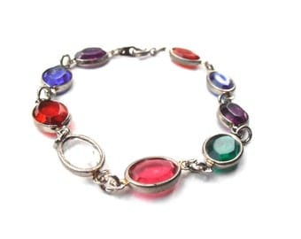 Vintage Multicolored Acrylic Stones Bracelet Red Green Blue Purple Oval Bezel Gemstone Color Silver Jewelry Villacollezione 7.75 Inches Long
