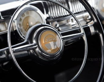 Classic Car Art - Color or B&W Wrapped Canvas Print Feat. Antique Ford Dash and Steering Wheel - Man Cave Art, Car Decor