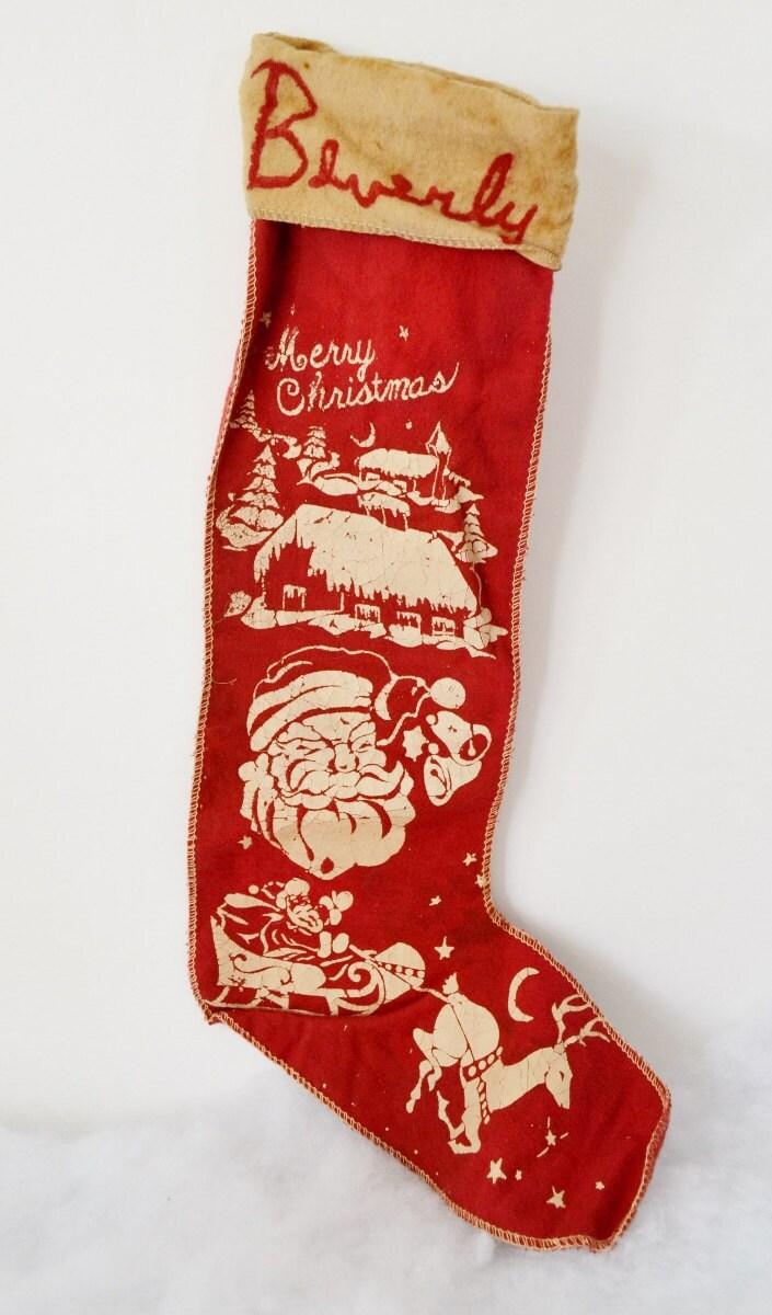Vintage Red Felt Merry Christmas Stocking Santa Reindeer Trees