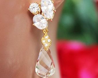 Swarovski Crystal Clear Drop Wedding Earrings, Gold Crystal Post Bridal Earrings, Crystal Drop Bridesmaid Earrings, Bridal Accessories