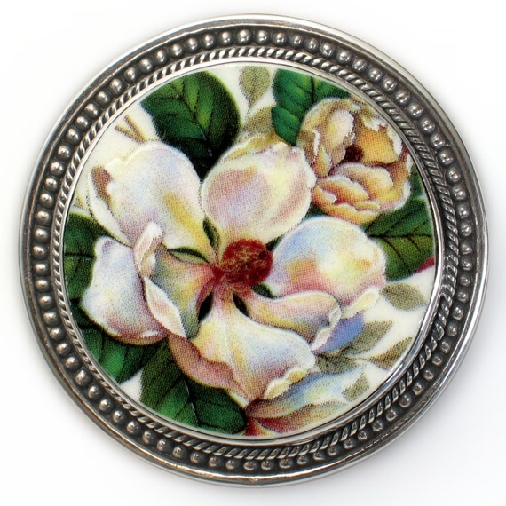 Broken China Jewelry Magnolia Flowers Sterling Brooch Pin Pendant