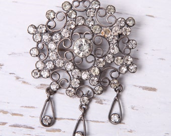 1950s VINTAGE Soviet RUSSIAN silver 875 Jewelry Brooch with stones Brooches USSR