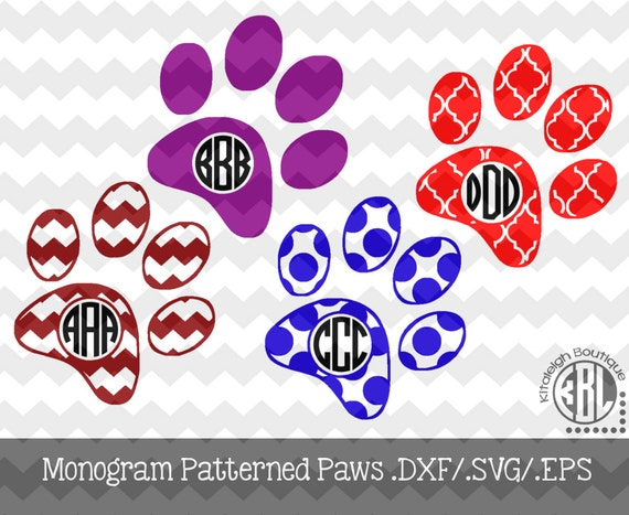Paw Prints Monogram Svg: Monogram Patterned Paw Print Decal Files .DXF/.SVG/.EPS For