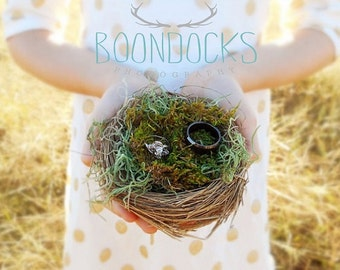 Bird Nest Ring Pillow Ring Bearer Pillow Alternative Wedding Ring Holder Bird Nest Moss Wedding Decor Down In The Boondocks